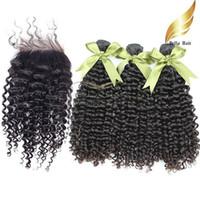 말레이시아 헤어 클로저 버진 인간의 머리카락 곱슬 머리 폐쇄 (4x4) 자연 색 4pcs / lot Bellahair