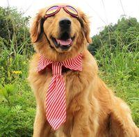 Mode Hund Zubehör Haustier Fliege Für Golden Retriever Large und Medium Sized Hunde Streifen Einstellbare Pet Krawatten Pet Bögen