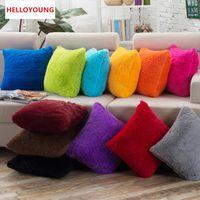 Cojín de lujo caliente ventas de la cubierta Funda de almohada Textiles para el Hogar suministra lumbar de la almohadilla de la felpa de almohadas de colores sólidos asiento de la silla del caso