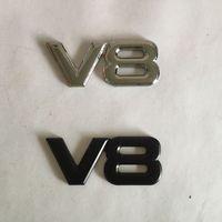 3D 금속 V8 엠블럼 배지 자동차 스티커 자동차 스타일링 블랙과 실버