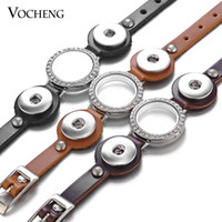 NOOSA Ginger Snap Jewelry Bracelet En Cuir Verre Mémoire Lockets 18mm 3 Couleurs Incrusté De Cristal VOCHENG NN-535