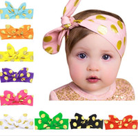 Europa infantile Fasce Dots Bunny Ears Nodi Cotton Hair Band Ragazza Baby Head Band Bambini Headwrap Hairbands Bambini Accessorio per capelli