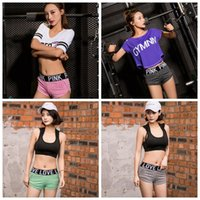 Pink Letter Yoga Gym Pants Pink Short Pants Lady Fitness Dan...