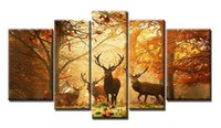 YIJIAHE Painting Modern Wall Art, Deer Landscape Print on Can...