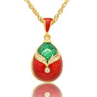 Two colors enamel Necklace style Russian egg pendant necklac...