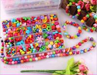 Ragazze Variety Perle acriliche per bambini Bambini Bracciali Collana gioielli in rilievo fai da te perline colorate per la scatola di vendita