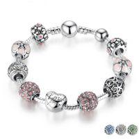 Antique Silver Charm Bracelet Bangle com Amor e Flor Bola de Cristal Mulheres Presente de Dia dos Namorados de Casamento