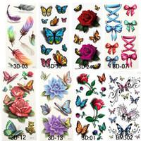 8 arten Temporäre Tattoos Für Mann Frau Wasserdichte Aufkleber Metallic Makeup 3D Bowknot Blume Tattoos Flash Körperkunst