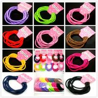 Commercio all'ingrosso 120PCS / LOT Colore misto Bambini adorabili bambini Candy Color Elastico Hairbands Accessorio dei capelli delle neonate di modo