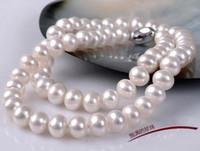 Elegant 9-10mm Natural Akoya Vit Pearl Halsband 17Inch 925 Silverlås