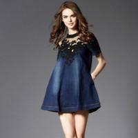 Europäischen und Amerikanischen Großhandel Mode A-Line Stickerei Blume Denim Kleid 2016 Pluse Größe Oansatz Kurzarm Sommerkleider für Frauen