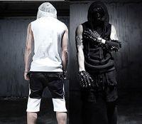 Gros-2016 New Arrivial coréen Cool Summer Gothic débardeurs hommes sans manches Avec capuche noir blanc Slim fit vêtements punk Rock