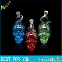 Wasser Pfeife Wasserpfeife Filter Zigarettenspitze Wasserpfeifen Mini Skull Bong Design Shisha Glasbongs mischen Farbe