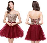$ 39.9 Nova Cheap 7 Cores Mini Curto Homecoming Vestidos 2020 Little Black Lace Appliques Tulle Cocktail Borgonha Borgonha Vestidos De Parte CPP11