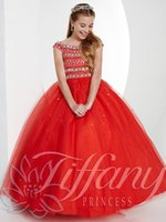 Brillante maniche rosse perline abito da ballo in tulle Flower Girl Dress Abiti pageant della ragazza Principessa gonna Custom Size 2-14 H923051