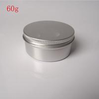 Kostenloser Versand - 50 x 60g Aluminium-Glas, Metall-Glas für Creme-Pulver-Gel-Einsatz, 2 Unzen kosmetische Flaschen, 60ml Aluminium-Container