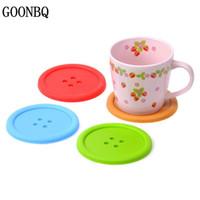 Оптовая продажа-GOONBQ 5 шт. / компл. 8.8 см кнопки форма стол коврик силиконовые круглые подставки симпатичные кнопки чашка коврик конфеты цвет мягкий силиконовый коврик