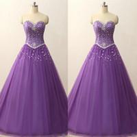Cheap Quinceañera Vestidos Luz Púrpura Una línea Sweetheart Cristales sin mangas Vestido de fiesta Largo Vestidos Formales Festa Corset
