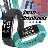 Smart Smart Wirstands F1 Tracker Fitness Smart Smart Sports Band Bracelet Podómetro Monitor de ritmo cardíaco IP67 Impermeable con caja