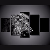 5 Pcs HD Printed lion white black Painting Canvas Print room...