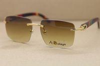 Sonnenbrille populäre berühmte Frauen Gold Holz Glasrahmen Randlos 8300816 Sonnenbrillen Männer C Dekoration Goldrahmen Glasrahmengröße: 54-18-135mm