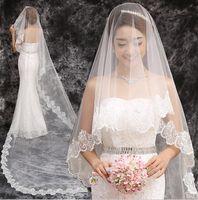 긴 웨딩 베일 절묘한 저렴한 신부 베일 한 레이어 레이스 가장자리 대성당 길이 비즈 신부 베일 웨딩 AccessoriesHT71