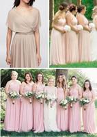 인기있는 새로운 맞춤형 프릴 A 라인 긴 시폰 신부 들러리 드레스 컨버터블 드레스 바닥 길이 보헤미안 웨딩 파티 드레스