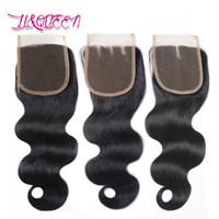 Fechamentos superiores da onda do corpo Fechamento brasileiro do cabelo do Virgin Fechamento natural do laço da rainha da onda do corpo da cor