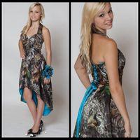 Blaue Camo Brautjungfer Kleider 2017 Halfter Hallo LO Camo kurze Front Lange Back Hochzeits-Party-Kleid Tarnmädchen-Haustierkleid