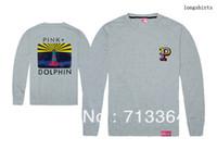 2018 nouvelle arrivée rose dauphin à manches longues chemises hip hop hommes manches longues t-shirt livraison gratuite 100% coton bonne qualité plus la taille d'impression