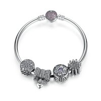 Genuine 925 Sterling Silver Beaded Bangle Charm bracciali con nodo cuore floreale Charms in Clear CZ gioielli matrimonio romantico BL226