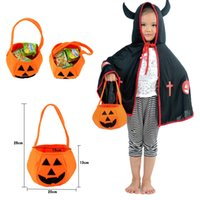 Venda Por Atacado New Children Smile Pumpkin Bag Kids Candy Bag Orange Handbag Halloween Holiday Presentes felizes para bebê Kids Non Woven Fabric Free DHL