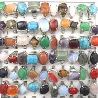 مزيج لوط للرجال خواتم خواتم الطبيعية ستون للحجر الطبيعي مجموعة أحباء شحن مجاني 50pcs بالجملة