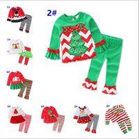 Filles Tenues Noël 2017 Père Noël manches longues + Ruffle Pantalons 2 Piece Set mignon enfants bébé Pyjama Noël Sets Vêtements Homewear