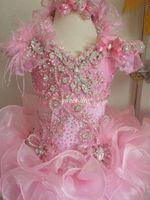 2019 Fashion Pink Ball Ball Buffle Girls Pageant Dresses Luxury Bead Crystal Feather Feather Glitz Kids Cumpleaños Fiesta Vestidos Flower Girl Vestido