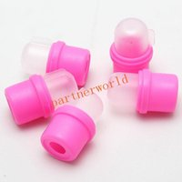 10Pcs/Set High Quality Wearable Nail Soak Soaker Polish Remover DIY Acrylic UV Gel Cap Tip Set Nail Art Tool Pink Color Free shipping