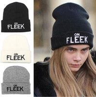 3 cores em Fleek Keep Warm Bordar Knitting Beanies Hip-hop Hats Winter Mens Skully Hats CCA6964 50pcs