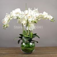 Orquídeas de Arreglos Florales con Hojas Toque Real Flor de la Mesa de Boda Festejo Falso Flor Decorativo Evento Flor Envío Gratis
