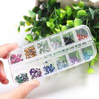 Nuovo 12 colori 2mm Cerchio o forma di goccia Perline Consigli per l'arte del chiodo Strass Scintilla Gel UV acrilico Gemme Decorazione con decorazioni dure