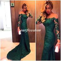2019 New Elegante Verde Escuro Sereia Manga Longa Vestidos de Baile 2016 Sexy Sheer Esmeralda Fora Do Ombro Formal Vestido de Noite Vestido de Festa