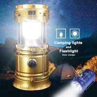 Lampes solaires portables en plein air LED Camping Lanterne Solar Lights Colapsible Lumière Camping en plein air Randonnée Super lumineux LED Lumière