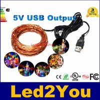 10 M 33 pies 100 led 5 V USB alimentado al aire libre Blanco cálido / RGB llevó las luces de cadena de alambre de cobre festival de navidad decoración del banquete de boda