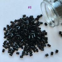 Schwarz Farbe Flachkupfer Mikrorohre Mikroringe ohne Aufweitung für Haar mit Spitze (1000 Teile / Beutel, 3,0 mm x 2,4 mm x 4,0 mm)