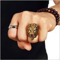 Acero inoxidable Alta calidad Lion Face Hip Hop Anillos para hombres Mujeres Trendsetter Joyas Nightclub Cantante Punk Finger Jewelry Gold Size 7-14