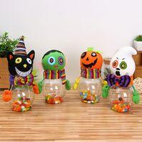 Хэллоуин детский мультфильм конфеты банки инновационные прозрачные бутылки кота тыквы конфеты банки банку подарок DIY настольные украшения плюшевые игрушки