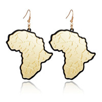 Trendy Fashion Gold Acrylic Africa Map Drop Earrings Classic...