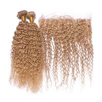 Fraise Blonde Cheveux Humains Bundles 3 pcs Avec Dentelle Frontale Fermeture Afro Crépus Malaisienne Vierge Cheveux Trames 8A Grade Afro Crépus Curly Cheveux