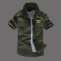 Mens Pilot Shirts Manches Courtes Chemises Casual Turn-Down Col MA1 Avion Tops Fashion Tees Vêtements