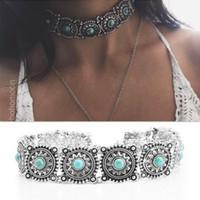 Bijoux fantaisie, mode personnalisé, collier exagéré de style folk rétro, disque de collier Turquoise