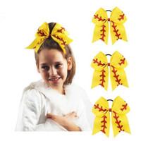 """5 colori 7 """"grande nastro rosso slittato glitter glitter softball bow bow gille cheerleading capelli archi accessori per capelli cca6962 50pcs"""